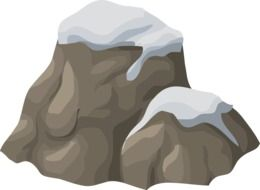 Drawing of snow-capped rocks