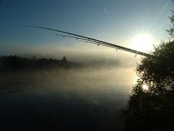Fishing in the fog on the river Drava