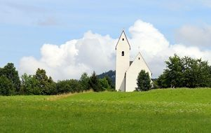white modest chapel in a picturesque place