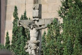 jesus christ on cross, stone figure outdoor