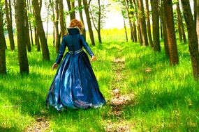 walking woman in princess dress
