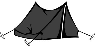 drawing black tourist tent