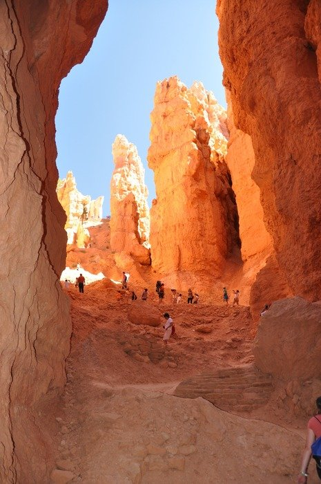 tourists in bryce canyon, usa, utah