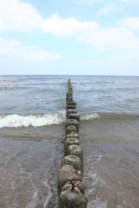 wooden breakwater in the Baltic Sea
