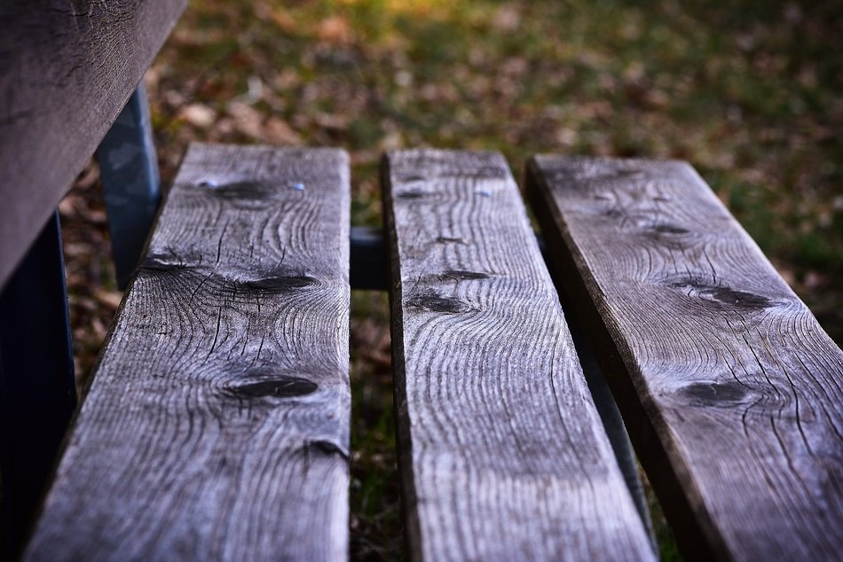 Wooden bench close up