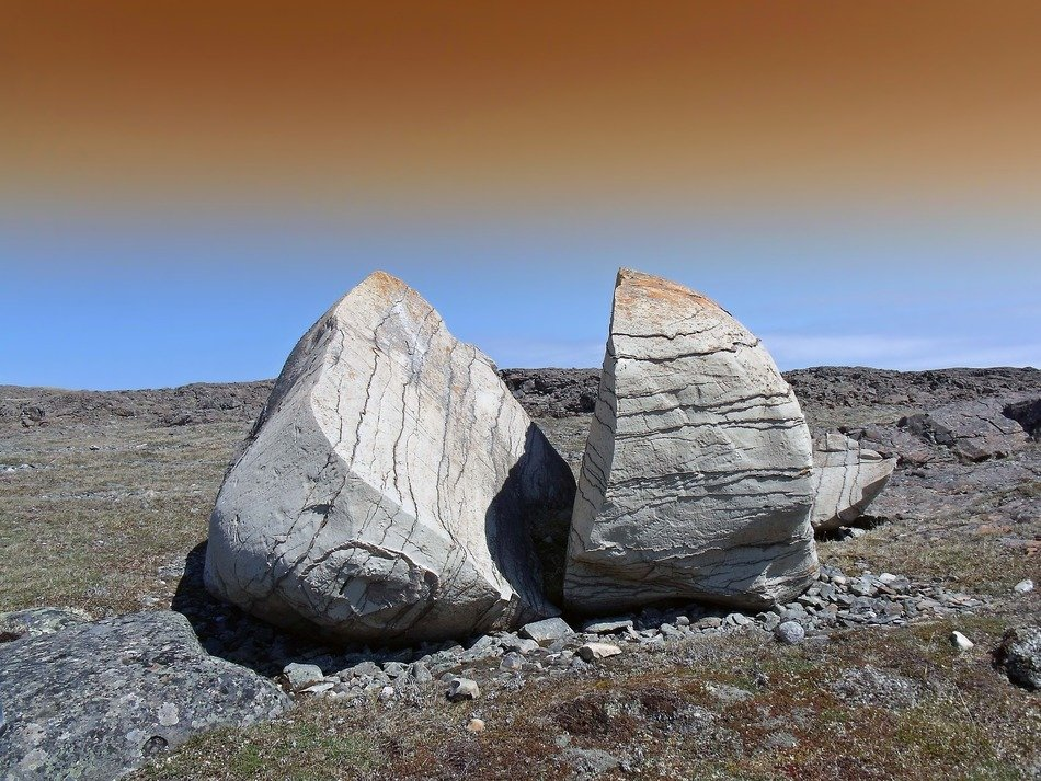 Landscape of large rocks in Canada