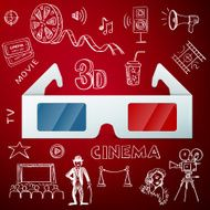 Three D glasses and hand draw cinema icon