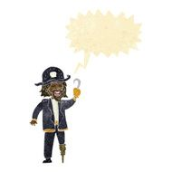 cartoon legless pirate captain with speech bubble
