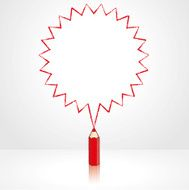 Red Pencil Drawing Pointed Starburst Speech Balloon