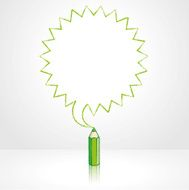 Green Pencil Drawing Pointed Starburst Speech Balloon