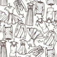 clothing scetches seamless pattern