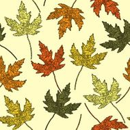 Seamless floral pattern with maple-leaf