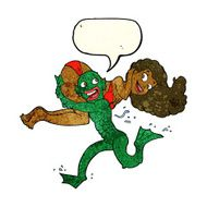 cartoon swamp monster carrying girl in bikini with speech bubble N2