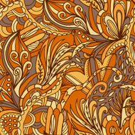 Abstract hand-drawn wave floral pattern N63