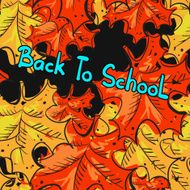 Back to school seamless pattern with leafs maple