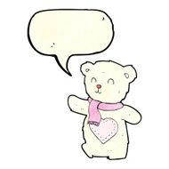 cartoon white teddy bear with love heart speech bubble N4