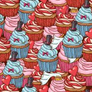 Seamless Background with Cupcakes N2