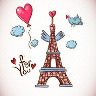 Vintage Card with Eiffel Tower and Heart