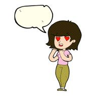 cartoon woman in love with speech bubble N5