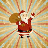 Vector Christmas background with Santa holding big bag of gifts