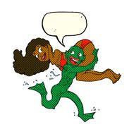 cartoon swamp monster carrying girl in bikini with speech bubble N5