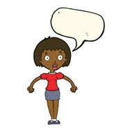 cartoon confused dark skin woman shrugging shoulders with speech bubble