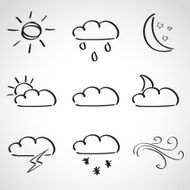Ink style sketch set - weather icons