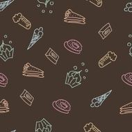 Brown background with hand drawn sweets