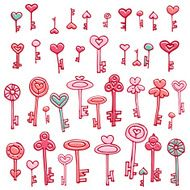 Keys of hearts hand-drawing set N2