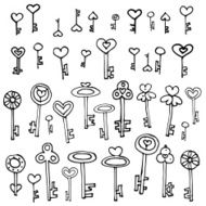 Keys of hearts hand-drawing set N3