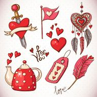 Doodle set elements of Valentines Day N2