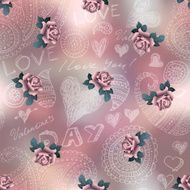 Doodles Valentines day pattern on blur background and roses