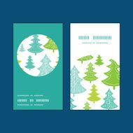 Vector holiday christmas trees vertical round frame pattern business cards