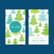 Vector holiday christmas trees vertical round frame pattern business cards N2