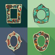 Set of vintage frames with colorful birds and flowers