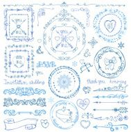 Winter doodle decor set Frame ribbon Border Hand drawn