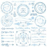 Winter doodle decor set Wreath Frame Border ribbon Hand drawn