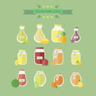 Collection of jars with juice Vector objects in flat