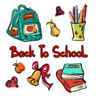 Back to school education icons cartoon set N7