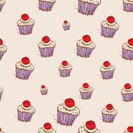 Cupcake cherries and cream Hand drawn sketch pink background pattern