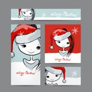 Christmas cards with santa girl sketch for your design