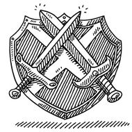 Coat Of Arms Shield Sword Drawing