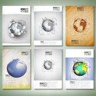 World globe with different Doodles Brochure flyer or report for
