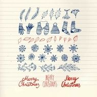 Christmas doodle hand drawn design elements