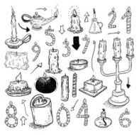collection of candles candles icons drawn vector illustration