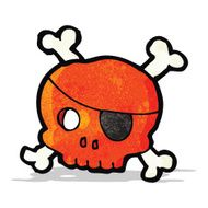 cartoon skull with pirate eye patch N2