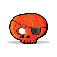 cartoon skull with pirate eye patch N3