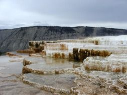 panorama of mammoth hot spring in the usa