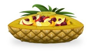 pineapple boat full of fruits salads dessert