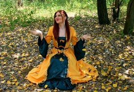 woman in yellow princess dress